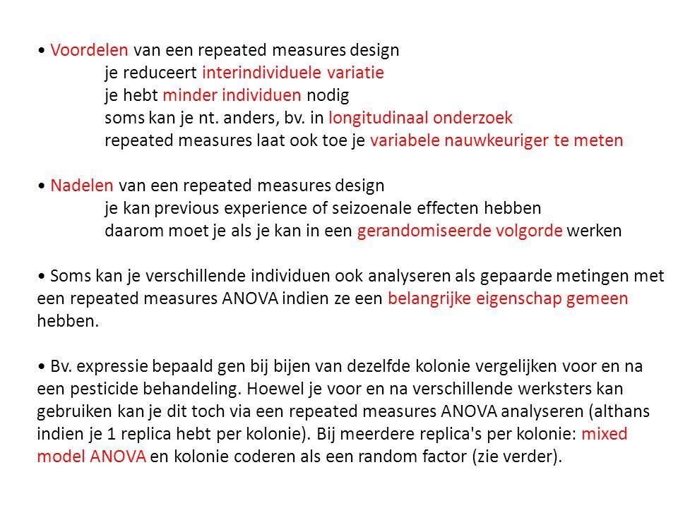 12.7Model diagnose • outliers kunnen opgespoord worden en normaliteit en homogeniteit van de varianties kunnen getest worden zoals eerder getoond in de GLM module • met bepaalde complexe ANOVA designs (bv.