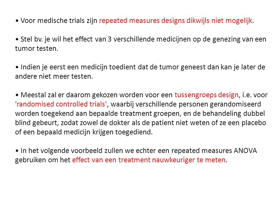 • Voor medische trials zijn repeated measures designs dikwijls niet mogelijk. • Stel bv. je wil het effect van 3 verschillende medicijnen op de genezi