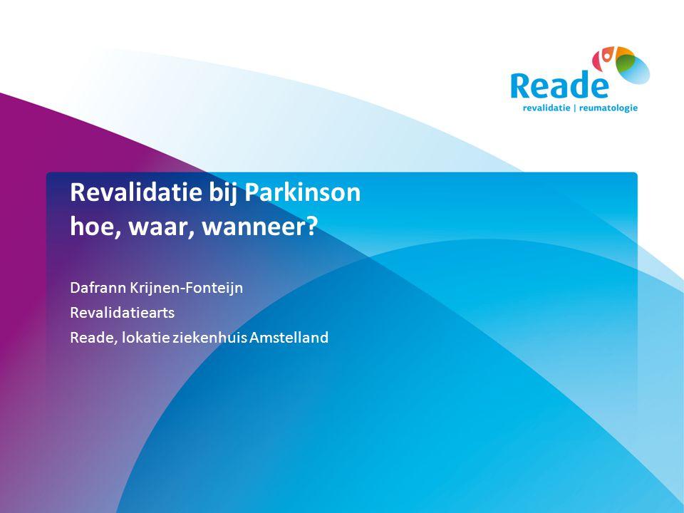 Parkinsongroepsprogramma 6 weken, 2 x p/w •Lotgenoten •Informatie •Handfunktie/schrijven •Bewegingsstrategien, transfers •Cognitie (denken, emoties) •Lopen, balans, valpreventie •Ik module •Communicatie •Voeding •Slikken •Belasting/belastbaarheis •Ontspanning en vrije tijd •Parkinson VP