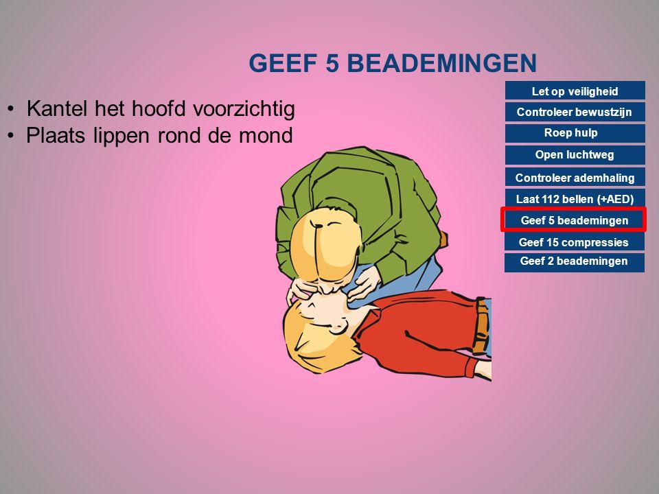 GEEF 5 BEADEMINGEN Controleer bewustzijn Roep hulp Open luchtweg Controleer ademhaling Laat 112 bellen (+AED) Geef 15 compressies Geef 2 beademingen G