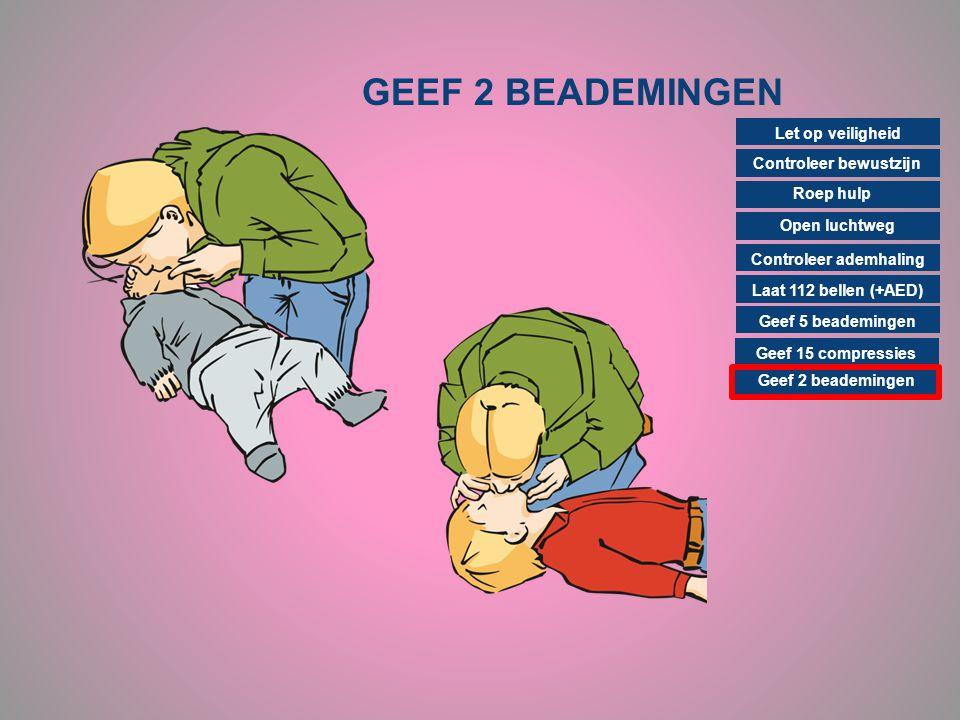 GEEF 2 BEADEMINGEN Controleer bewustzijn Roep hulp Open luchtweg Controleer ademhaling Laat 112 bellen (+AED) Geef 15 compressies Geef 2 beademingen G