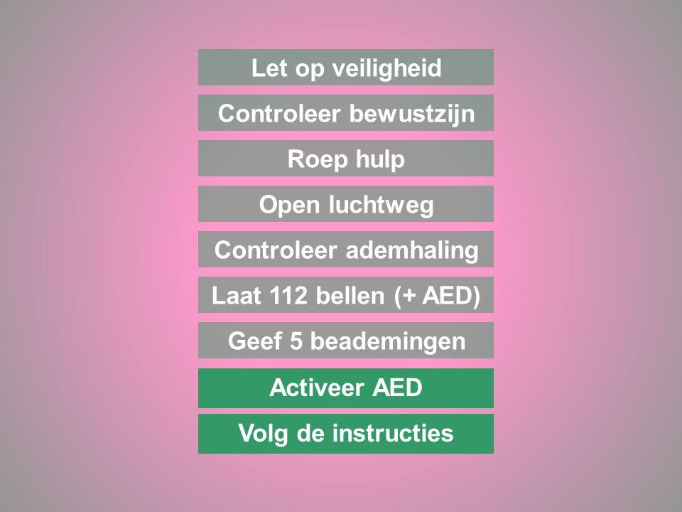 Laat 112 bellen (+ AED) Let op veiligheid Controleer bewustzijn Roep hulp Open luchtweg Controleer ademhaling Activeer AED Volg de instructies Geef 5