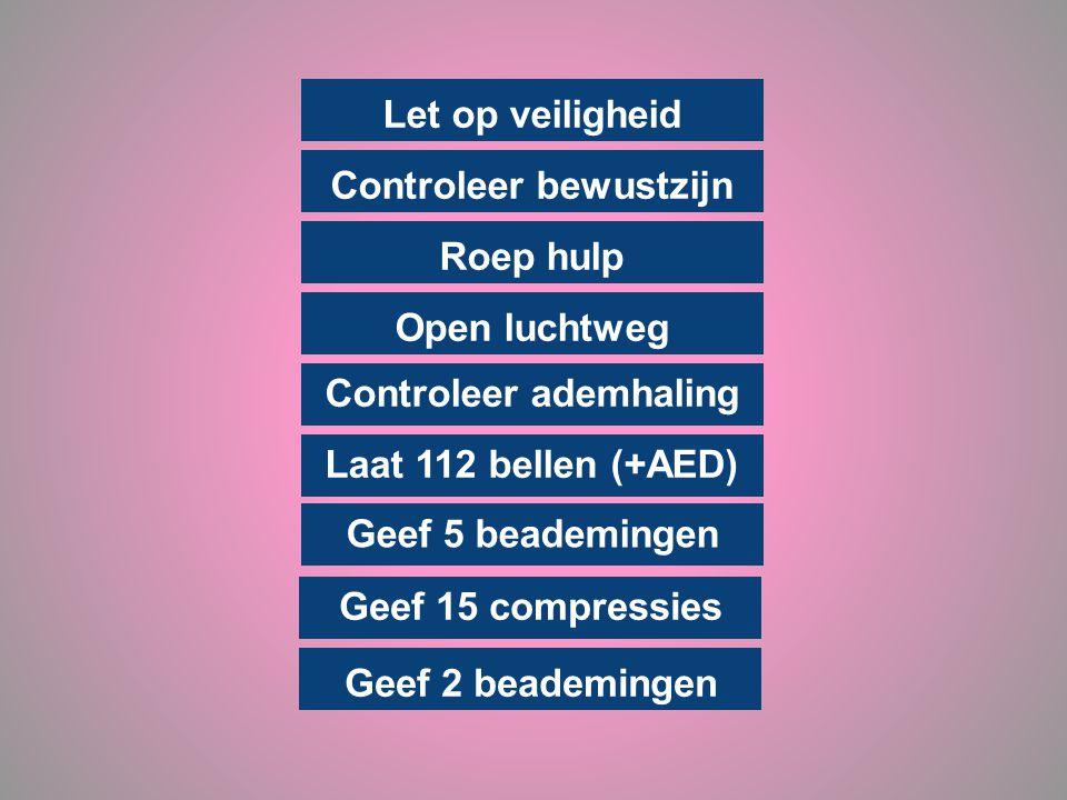 Let op veiligheid Controleer bewustzijn Roep hulp Open luchtweg Controleer ademhaling Laat 112 bellen (+AED) Geef 15 compressies Geef 2 beademingen Ge