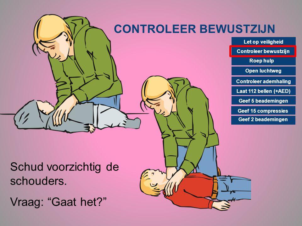 CONTROLEER BEWUSTZIJN Controleer bewustzijn Roep hulp Open luchtweg Controleer ademhaling Laat 112 bellen (+AED) Geef 15 compressies Geef 2 beademinge