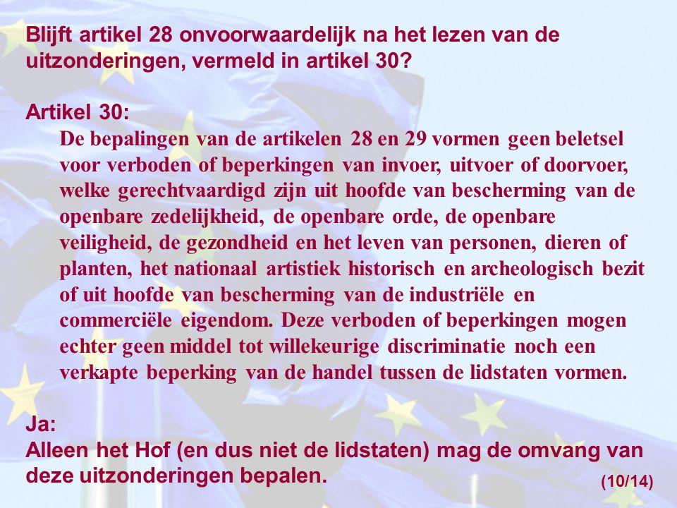 Blijft artikel 28 onvoorwaardelijk na het lezen van de uitzonderingen, vermeld in artikel 30? Artikel 30: De bepalingen van de artikelen 28 en 29 vorm