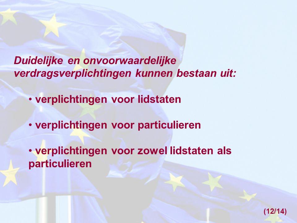 Duidelijke en onvoorwaardelijke verdragsverplichtingen kunnen bestaan uit: • verplichtingen voor lidstaten • verplichtingen voor particulieren • verpl