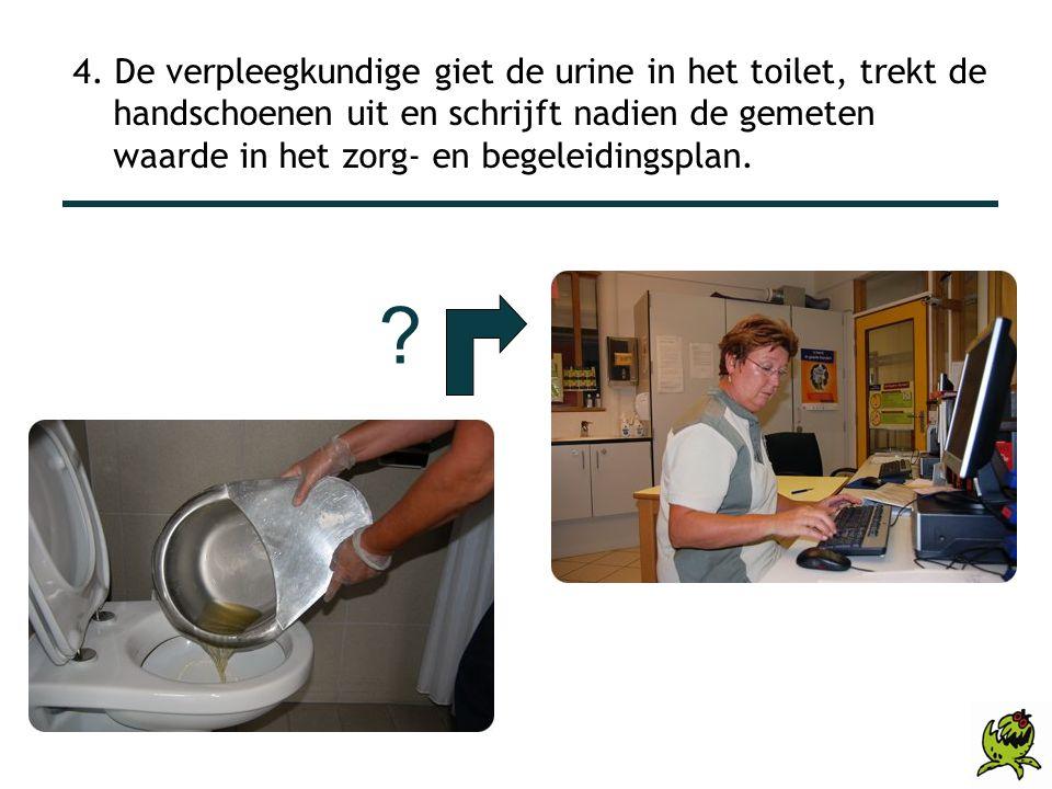 4. De verpleegkundige giet de urine in het toilet, trekt de handschoenen uit en schrijft nadien de gemeten waarde in het zorg- en begeleidingsplan. ?