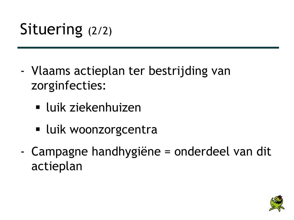Situering (2/2) -Vlaams actieplan ter bestrijding van zorginfecties:  luik ziekenhuizen  luik woonzorgcentra -Campagne handhygiëne = onderdeel van d