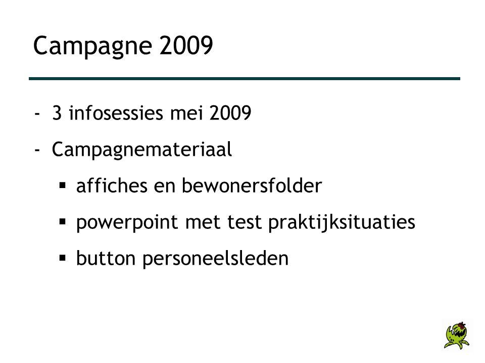 Campagne 2009 -3 infosessies mei 2009 -Campagnemateriaal  affiches en bewonersfolder  powerpoint met test praktijksituaties  button personeelsleden