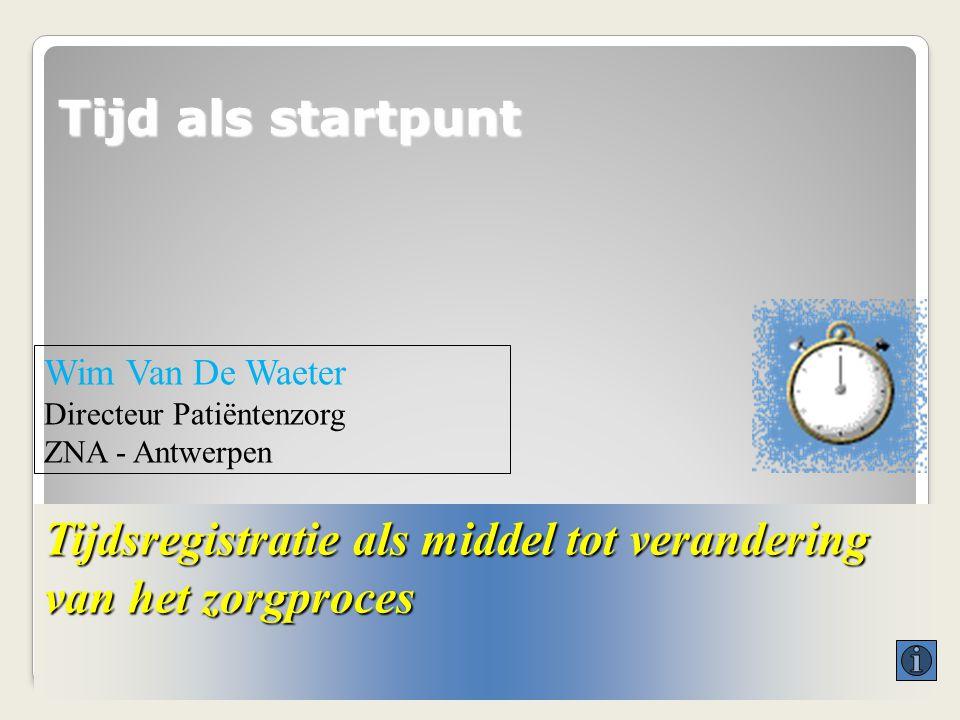 Tijd als startpunt Tijdsregistratie als middel tot verandering van het zorgproces Wim Van De Waeter Directeur Patiëntenzorg ZNA - Antwerpen