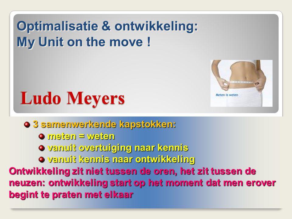 Ludo Meyers 3 samenwerkende kapstokken: 3 samenwerkende kapstokken: meten = weten meten = weten vanuit overtuiging naar kennis vanuit overtuiging naar
