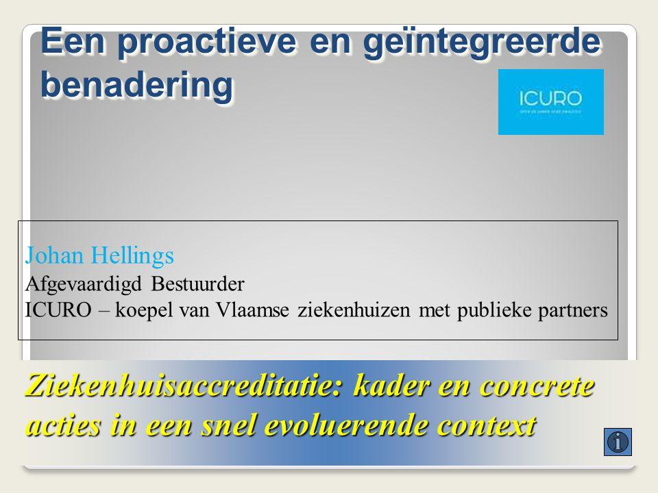 Ziekenhuisaccreditatie: kader en concrete acties in een snel evoluerende context Johan Hellings Afgevaardigd Bestuurder ICURO – koepel van Vlaamse zie