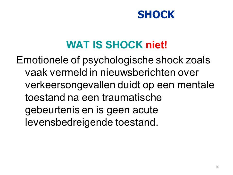 SHOCK WAT IS SHOCK niet! Emotionele of psychologische shock zoals vaak vermeld in nieuwsberichten over verkeersongevallen duidt op een mentale toestan