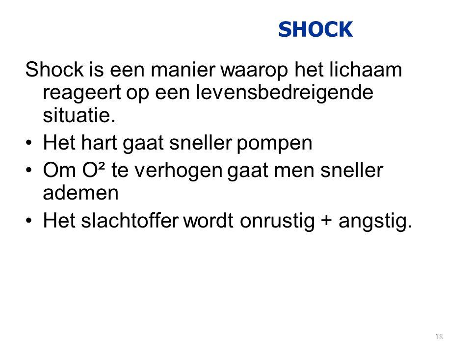 SHOCK Shock is een manier waarop het lichaam reageert op een levensbedreigende situatie. •Het hart gaat sneller pompen •Om O² te verhogen gaat men sne