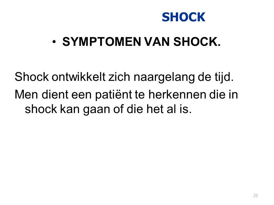 SHOCK •SYMPTOMEN VAN SHOCK. Shock ontwikkelt zich naargelang de tijd. Men dient een patiënt te herkennen die in shock kan gaan of die het al is. 20