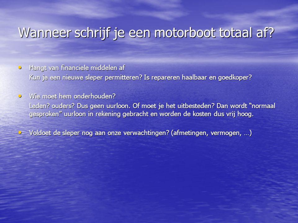 Wanneer schrijf je een motorboot totaal af? • Hangt van financiele middelen af Kun je een nieuwe sleper permitteren? Is repareren haalbaar en goedkope