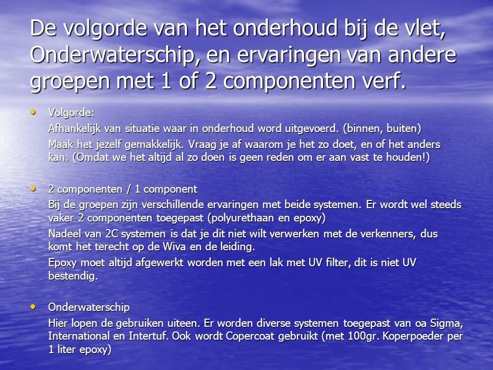 De volgorde van het onderhoud bij de vlet, Onderwaterschip, en ervaringen van andere groepen met 1 of 2 componenten verf. • Volgorde: Afhankelijk van
