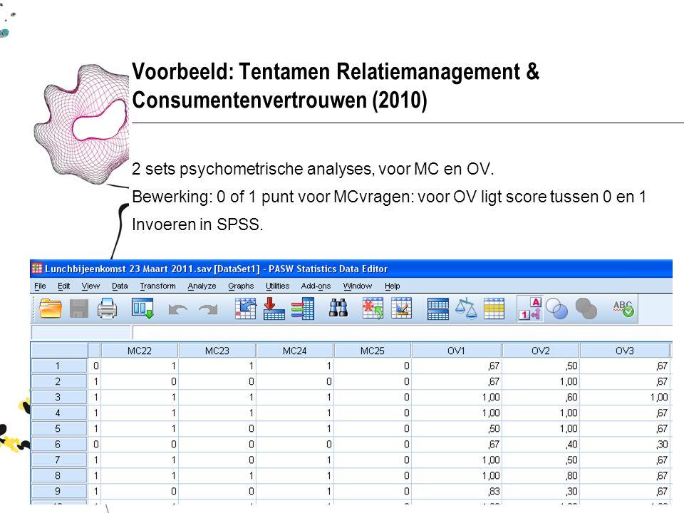 Voorbeeld: Tentamen Relatiemanagement & Consumentenvertrouwen (2010) 2 sets psychometrische analyses, voor MC en OV. Bewerking: 0 of 1 punt voor MCvra