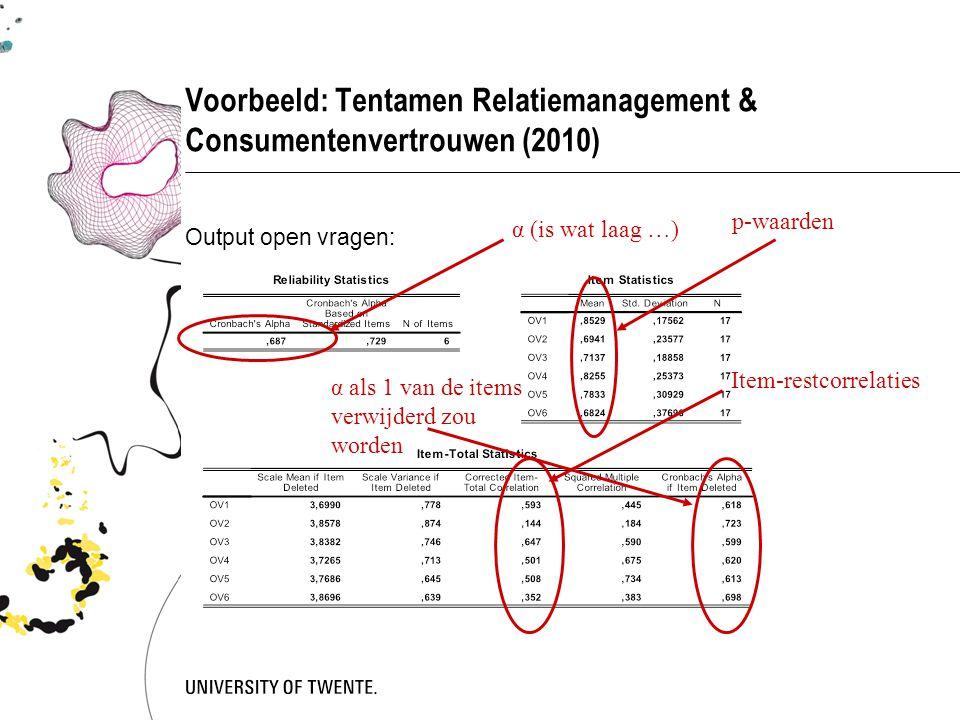 Voorbeeld: Tentamen Relatiemanagement & Consumentenvertrouwen (2010) Output open vragen: α (is wat laag …) p-waarden Item-restcorrelaties α als 1 van