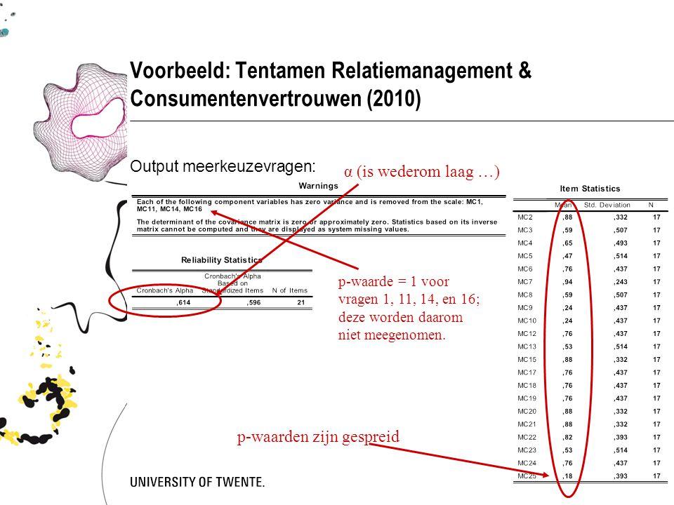 Voorbeeld: Tentamen Relatiemanagement & Consumentenvertrouwen (2010) Output meerkeuzevragen: p-waarde = 1 voor vragen 1, 11, 14, en 16; deze worden da