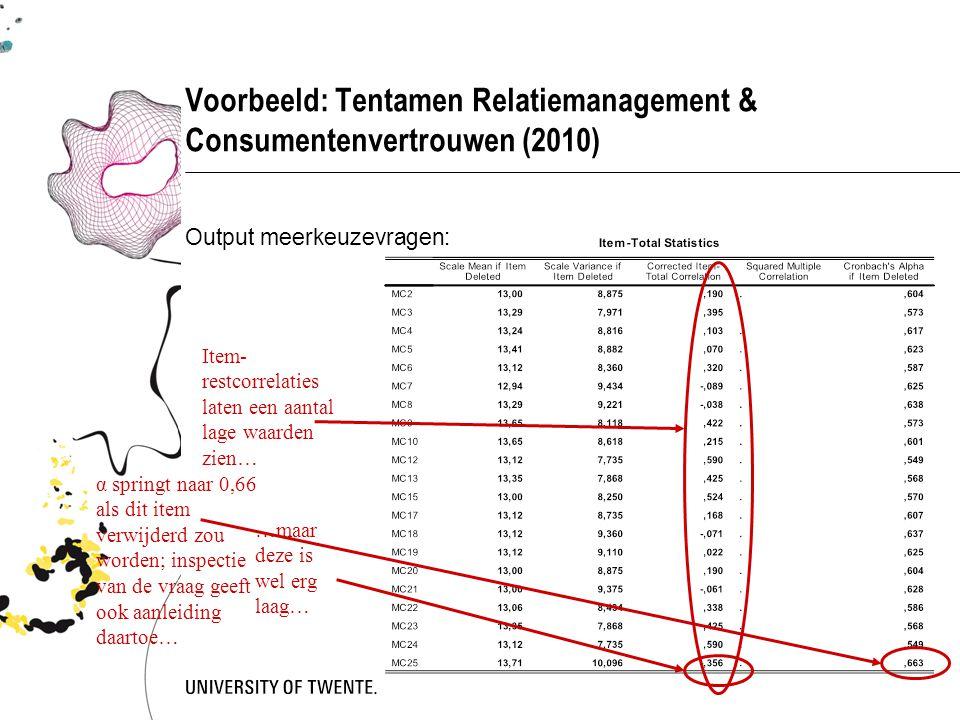 Voorbeeld: Tentamen Relatiemanagement & Consumentenvertrouwen (2010) Output meerkeuzevragen: Item- restcorrelaties laten een aantal lage waarden zien…