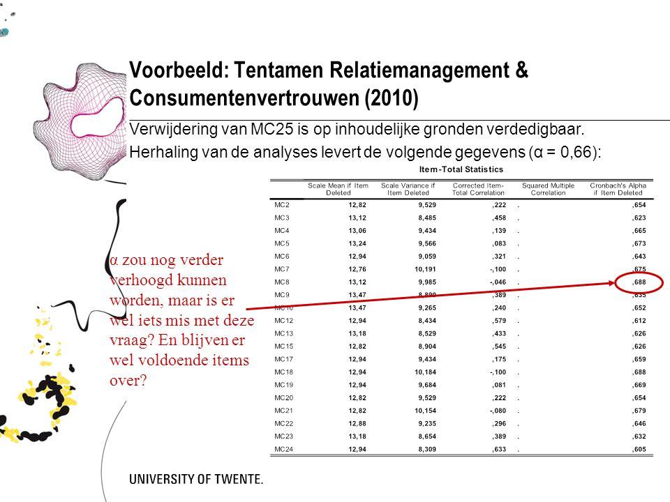 Voorbeeld: Tentamen Relatiemanagement & Consumentenvertrouwen (2010) Verwijdering van MC25 is op inhoudelijke gronden verdedigbaar. Herhaling van de a