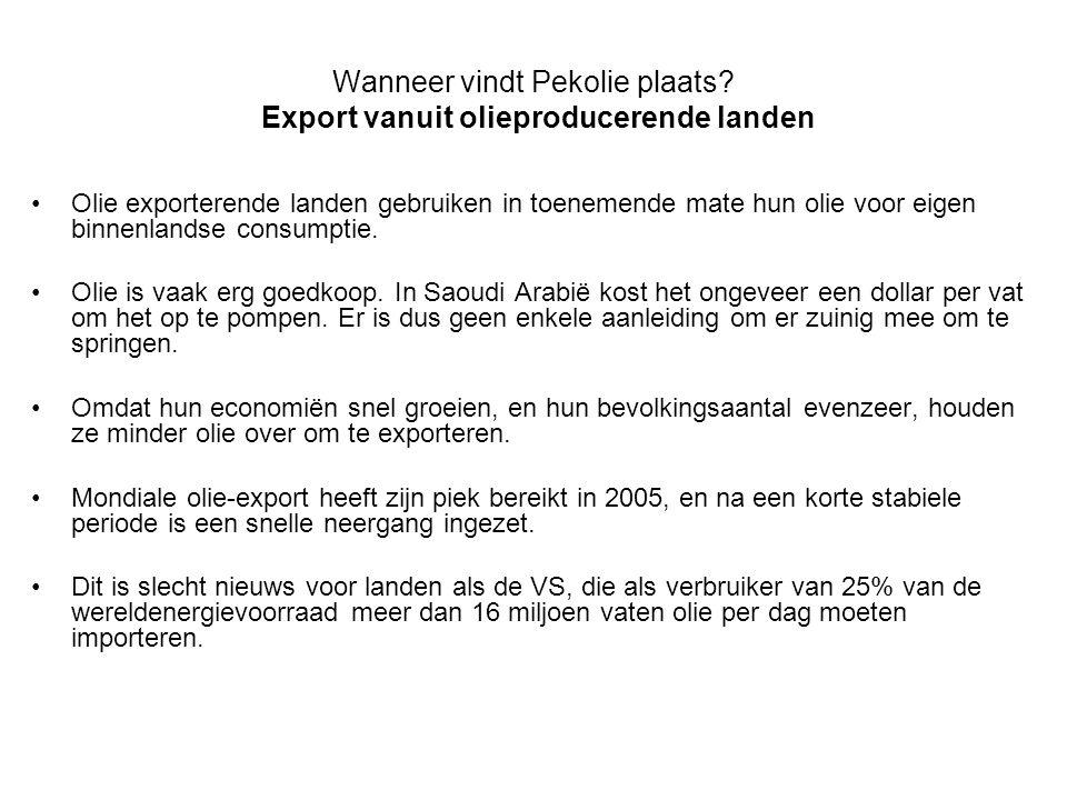 Wanneer vindt Pekolie plaats? Export vanuit olieproducerende landen •Olie exporterende landen gebruiken in toenemende mate hun olie voor eigen binnenl