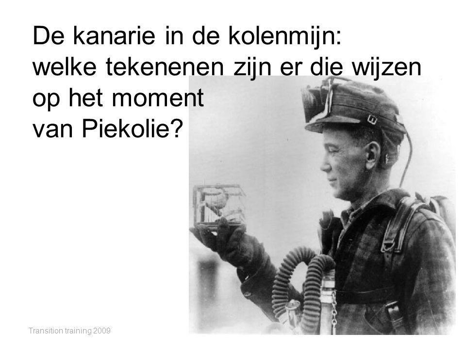 Transition training 2009 De kanarie in de kolenmijn: welke tekenenen zijn er die wijzen op het moment van Piekolie?