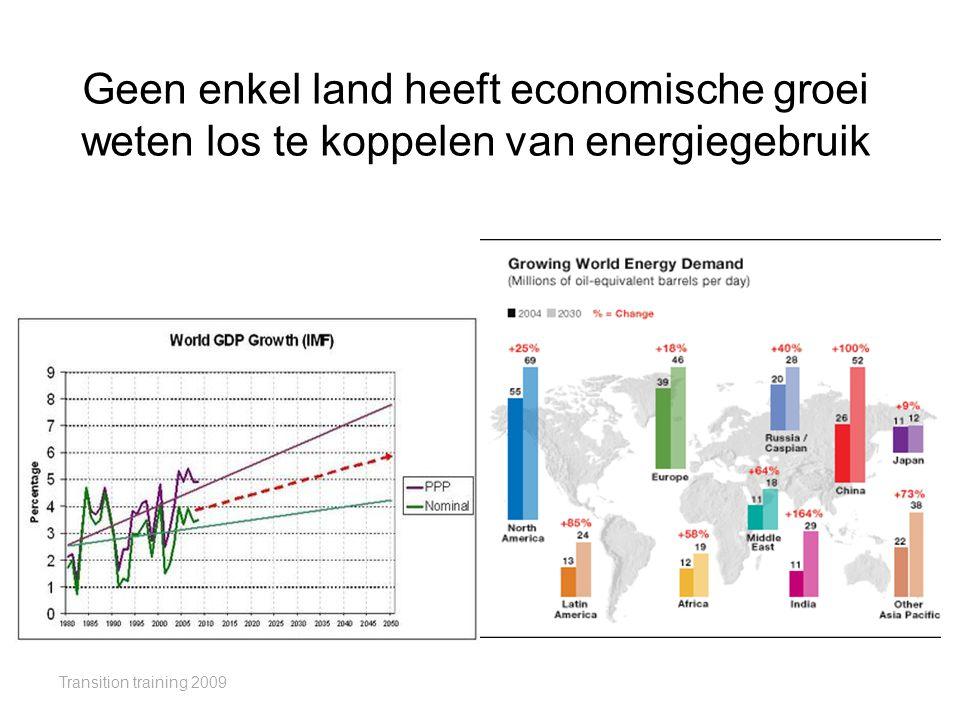 Geen enkel land heeft economische groei weten los te koppelen van energiegebruik Transition training 2009