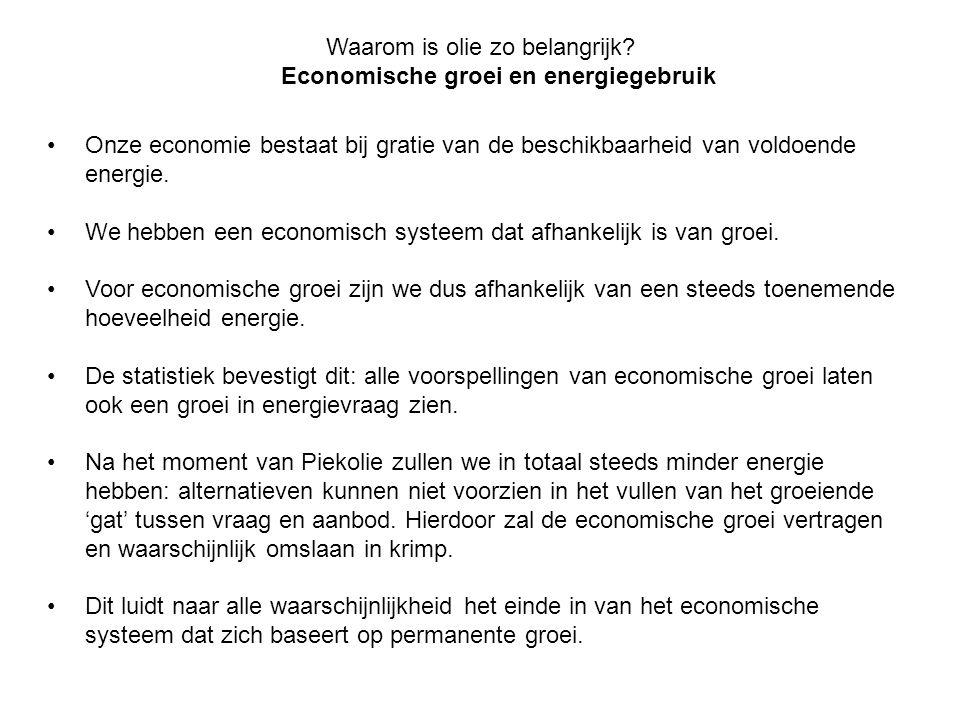 Waarom is olie zo belangrijk? Economische groei en energiegebruik •Onze economie bestaat bij gratie van de beschikbaarheid van voldoende energie. •We