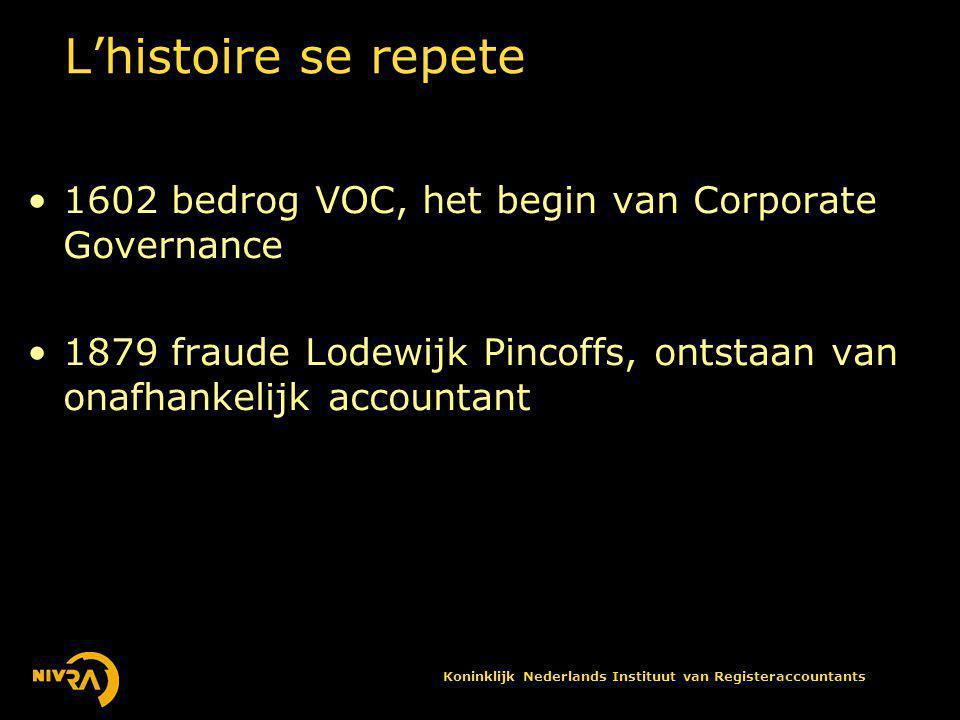 Koninklijk Nederlands Instituut van Registeraccountants L'histoire se repete •1602 bedrog VOC, het begin van Corporate Governance •1879 fraude Lodewijk Pincoffs, ontstaan van onafhankelijk accountant