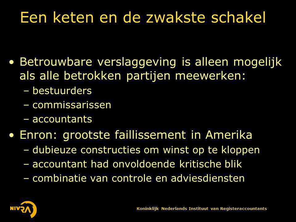 Koninklijk Nederlands Instituut van Registeraccountants De reacties na Enron •Iedereen realiseerde zich dat er wat moest gebeuren, en dat was pure winst