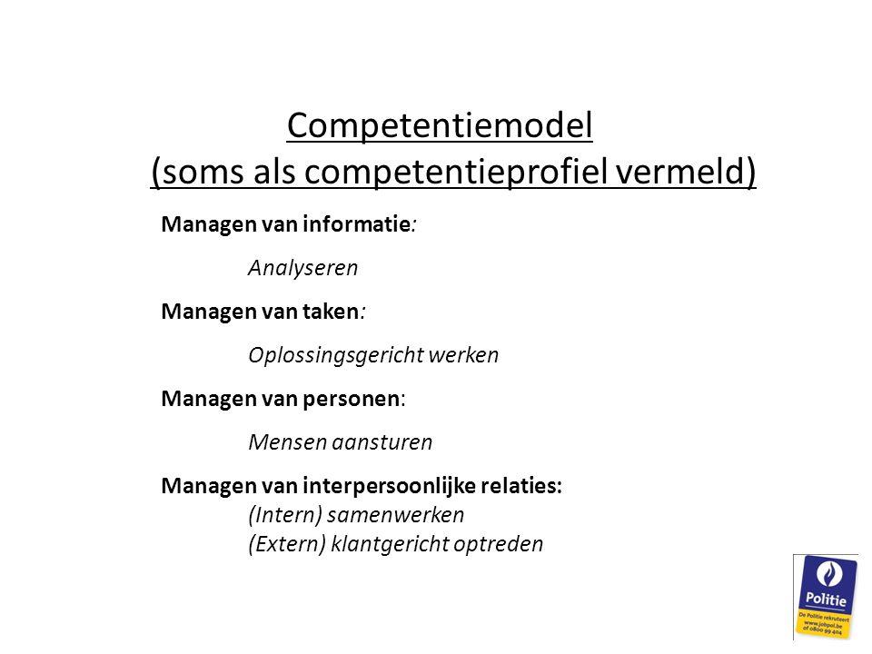 Competentiemodel (soms als competentieprofiel vermeld) Managen van informatie: Analyseren Managen van taken: Oplossingsgericht werken Managen van pers