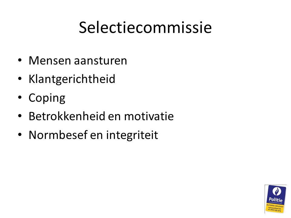 Selectiecommissie • Mensen aansturen • Klantgerichtheid • Coping • Betrokkenheid en motivatie • Normbesef en integriteit