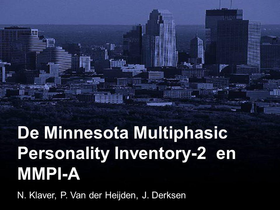 De Minnesota Multiphasic Personality Inventory (MMPI) • Wereldwijd meest gebruikte test voor persoonlijkheidskenmerken en psychopathologie • 567 items, AKKOORD/NIET-AKKOORD • 10 klinische schalen, diverse subschalen • Meer dan 15.000 publicaties • Ieder jaar 250 nieuwe publicaties
