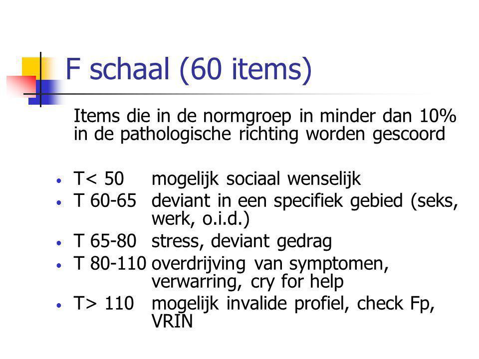 F schaal (60 items) Items die in de normgroep in minder dan 10% in de pathologische richting worden gescoord • T< 50mogelijk sociaal wenselijk • T 60-