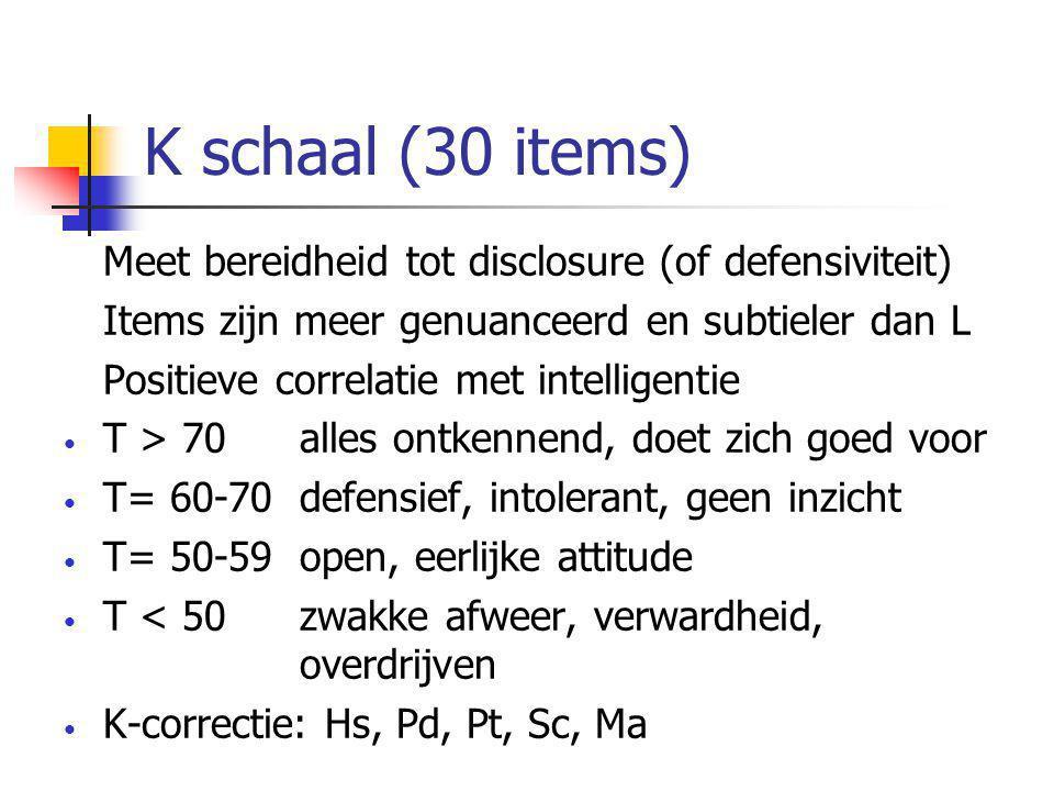 K schaal (30 items) Meet bereidheid tot disclosure (of defensiviteit) Items zijn meer genuanceerd en subtieler dan L Positieve correlatie met intelligentie • T > 70 alles ontkennend, doet zich goed voor • T= 60-70 defensief, intolerant, geen inzicht • T= 50-59 open, eerlijke attitude • T < 50 zwakke afweer, verwardheid, overdrijven • K-correctie: Hs, Pd, Pt, Sc, Ma