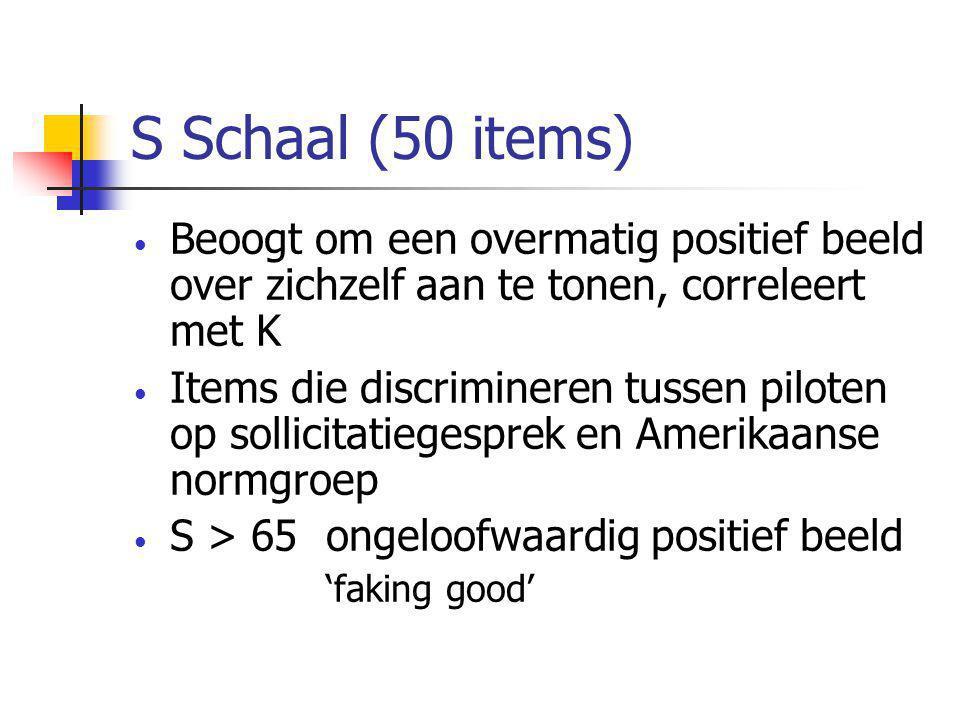 S Schaal (50 items) • Beoogt om een overmatig positief beeld over zichzelf aan te tonen, correleert met K • Items die discrimineren tussen piloten op sollicitatiegesprek en Amerikaanse normgroep • S > 65ongeloofwaardig positief beeld 'faking good'