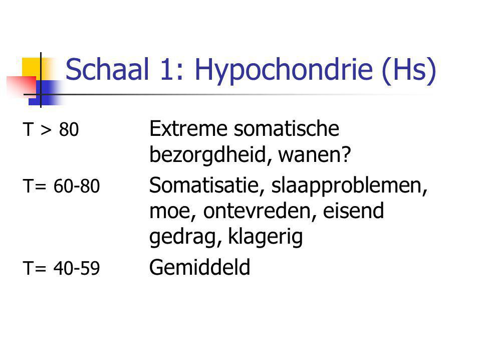 Schaal 1: Hypochondrie (Hs) T > 80 Extreme somatische bezorgdheid, wanen? T= 60-80 Somatisatie, slaapproblemen, moe, ontevreden, eisend gedrag, klager