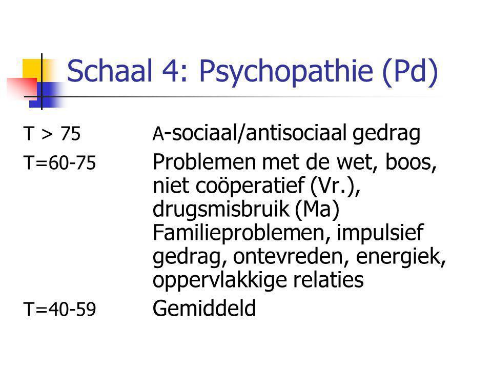 Schaal 4: Psychopathie (Pd) T > 75A -sociaal/antisociaal gedrag T=60-75 Problemen met de wet, boos, niet coöperatief (Vr.), drugsmisbruik (Ma) Familieproblemen, impulsief gedrag, ontevreden, energiek, oppervlakkige relaties T=40-59 Gemiddeld
