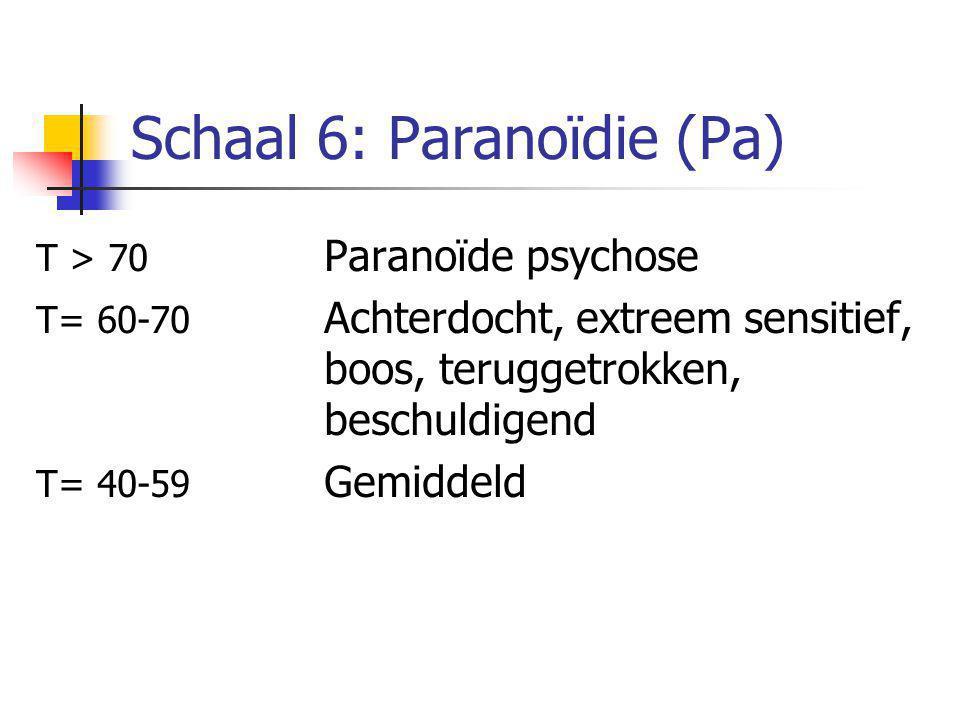Schaal 6: Paranoïdie (Pa) T > 70 Paranoïde psychose T= 60-70 Achterdocht, extreem sensitief, boos, teruggetrokken, beschuldigend T= 40-59 Gemiddeld