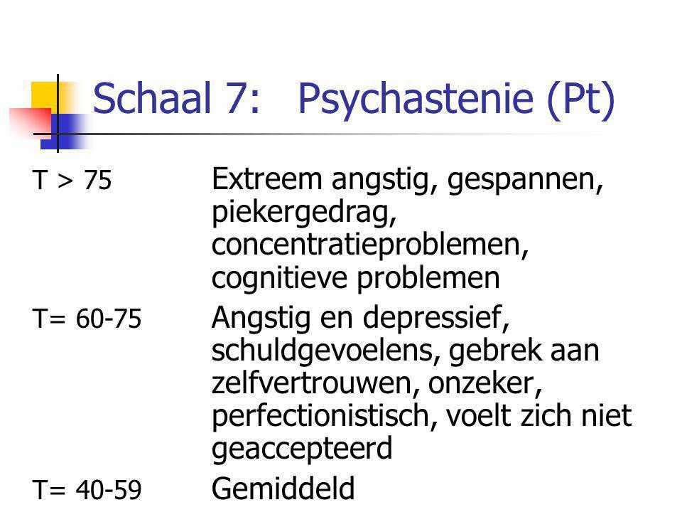 Schaal 7:Psychastenie (Pt) T > 75 Extreem angstig, gespannen, piekergedrag, concentratieproblemen, cognitieve problemen T= 60-75 Angstig en depressief, schuldgevoelens, gebrek aan zelfvertrouwen, onzeker, perfectionistisch, voelt zich niet geaccepteerd T= 40-59 Gemiddeld