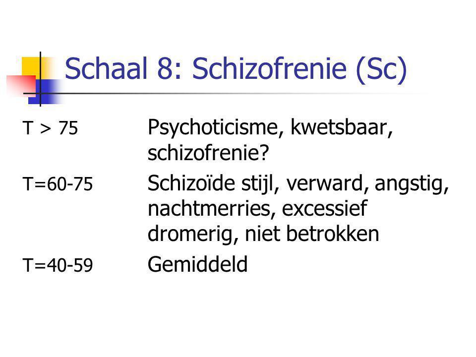Schaal 8: Schizofrenie (Sc) T > 75 Psychoticisme, kwetsbaar, schizofrenie? T=60-75 Schizoïde stijl, verward, angstig, nachtmerries, excessief dromerig