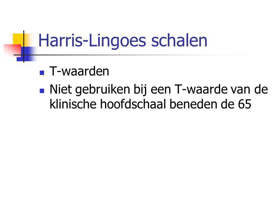 Harris-Lingoes schalen  T-waarden  Niet gebruiken bij een T-waarde van de klinische hoofdschaal beneden de 65
