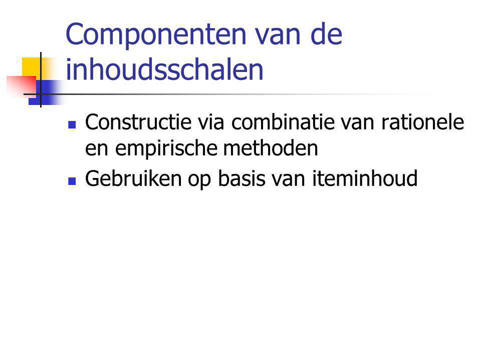 Componenten van de inhoudsschalen  Constructie via combinatie van rationele en empirische methoden  Gebruiken op basis van iteminhoud