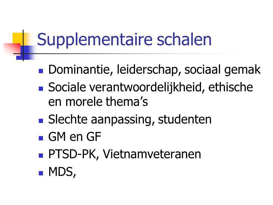 Supplementaire schalen  Dominantie, leiderschap, sociaal gemak  Sociale verantwoordelijkheid, ethische en morele thema's  Slechte aanpassing, studenten  GM en GF  PTSD-PK, Vietnamveteranen  MDS,