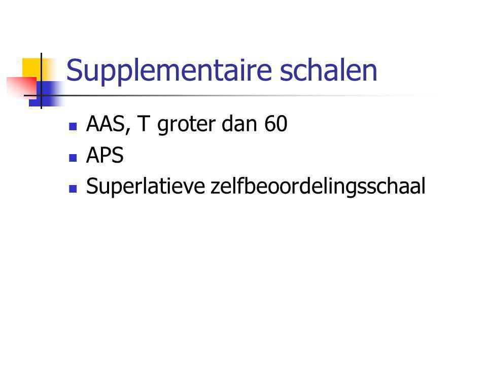 Supplementaire schalen  AAS, T groter dan 60  APS  Superlatieve zelfbeoordelingsschaal