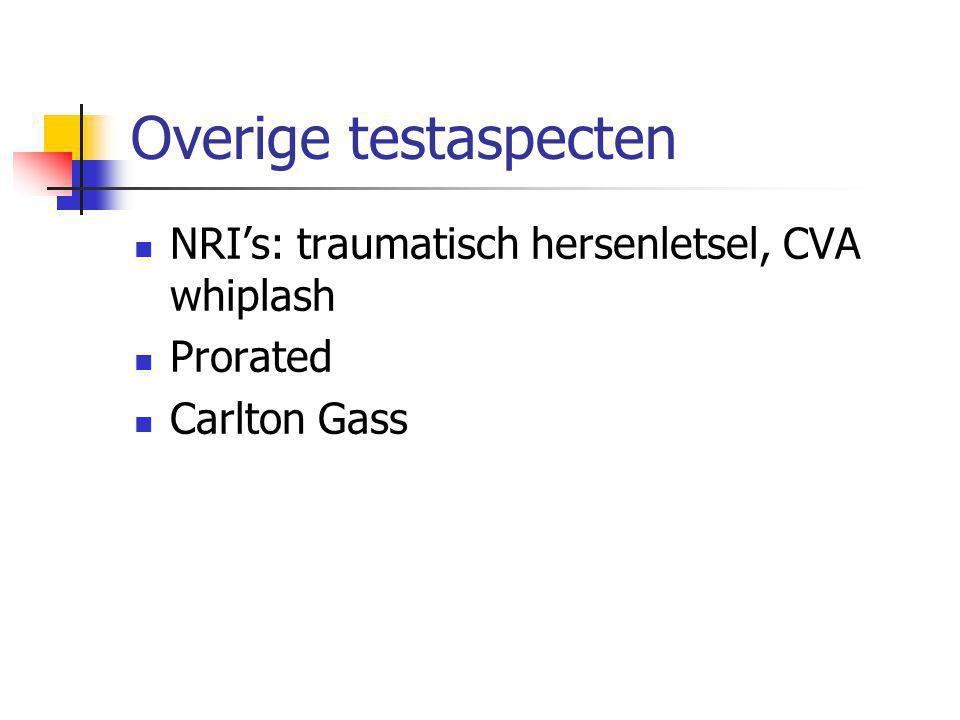 Overige testaspecten  NRI's: traumatisch hersenletsel, CVA whiplash  Prorated  Carlton Gass