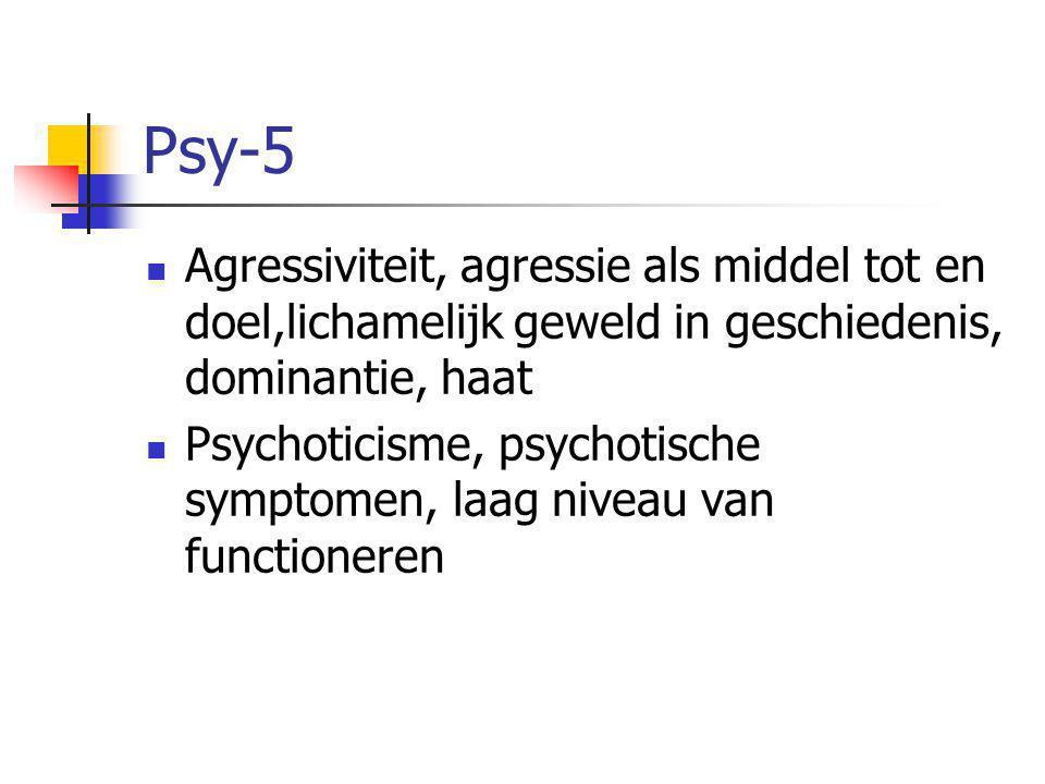 Psy-5  Agressiviteit, agressie als middel tot en doel,lichamelijk geweld in geschiedenis, dominantie, haat  Psychoticisme, psychotische symptomen, laag niveau van functioneren