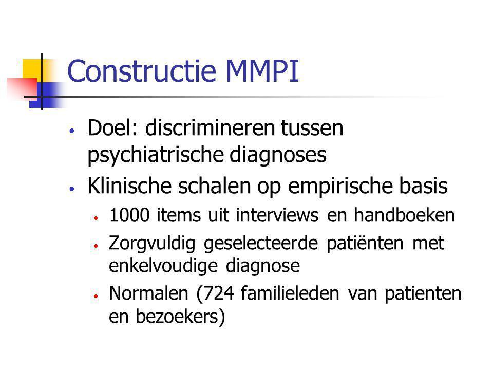Constructie MMPI • Doel: discrimineren tussen psychiatrische diagnoses • Klinische schalen op empirische basis • 1000 items uit interviews en handboeken • Zorgvuldig geselecteerde patiënten met enkelvoudige diagnose • Normalen (724 familieleden van patienten en bezoekers)